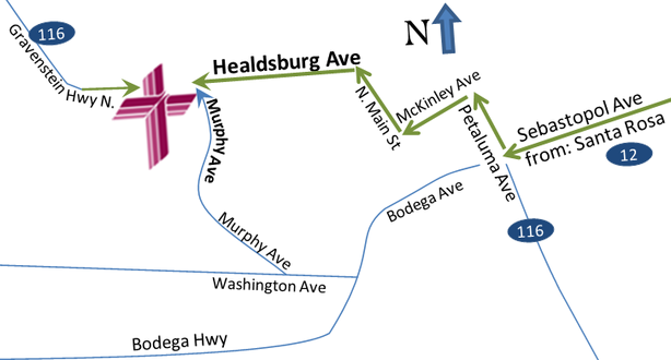 A simplified map of Sebastopol, to find Mt Olive